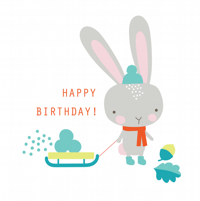 BUNNY GATHERING SNOW Birthday Card
