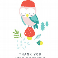 Olive Owl : 6'' x 6'' Personalised Thank You Card
