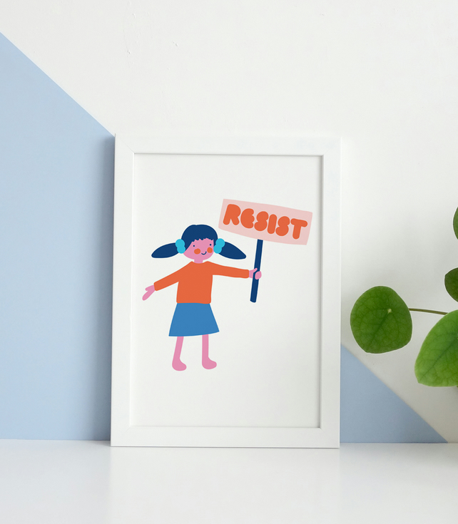 Little Lady Says Resist : Inkjet A6 Print on Achival Paper