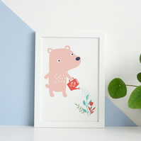 Barney Bear : Inkjet A6 Print on Archival Paper