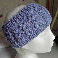 head band - ear warmer - hand knitted - airforce blue
