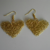 Heart Earrings - knitted gold coloured wire - dangly