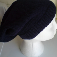Long Slouchy Beanie Hat - hand knitted - navy blue