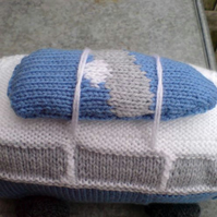 VW style campervan hand knitted soft toy/mascot