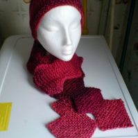 Diamond shaped scarf with matching beany hat.