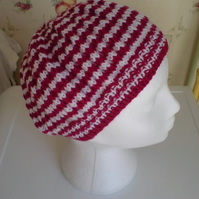 Red and White Striped Beanie Hat - Hand Knitted - wool