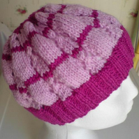 Lilac and Purple Knitted Lace Beany Hat - wool