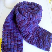 Purple Bobbly Long Scarf - Hand Knitted