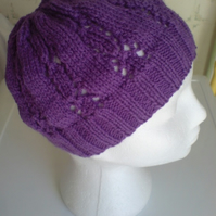 Purple Lace Beany Hat - wool - hand knitted