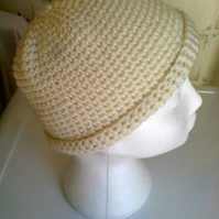 Cream Aran Beany Hat - hand crochet - wool
