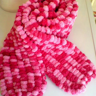 Pink Bobbly Scarf long, hand knitted - wool