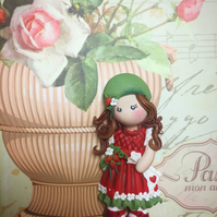 ooak Collectable handmade strawberry doll charm- pendant