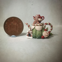 Handmade Ooak miniature christmas gingerbread man teapot