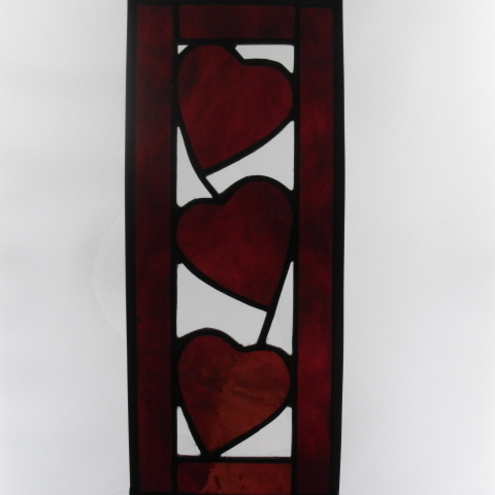Stained Glass Red Hearts Never Can Be Broken Suncatcher Stained Glass Ornament