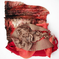 Red Brown fabric mixture for applique or machine embroidery, 275g bag