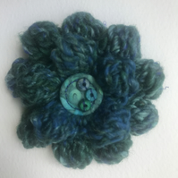 Wool and silk crochet flower brooch