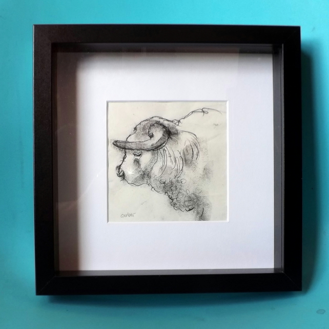 Wallflower - Original Monoprint - Charolais Bull