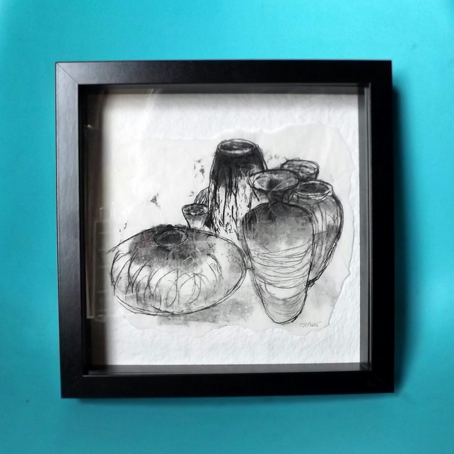 Vessels -- Still Life - Original Monoprint