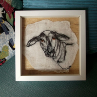 Philosopher - Felted drawing - sheep