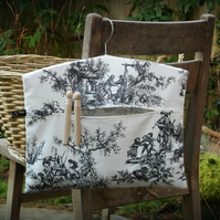 French Toile Clothes Peg Bag