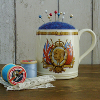 Upcycled King George V Silver Jubilee Mug Pin Cushion