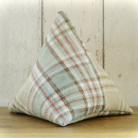 Shades of Green Tartan Pyramid Door Stop
