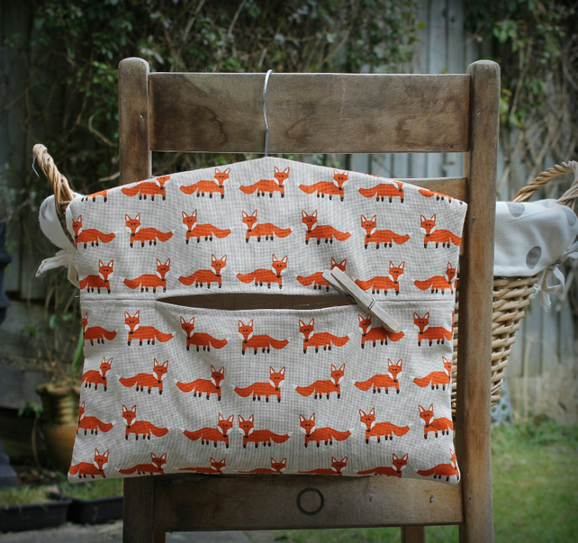 Mr Fox Clothes Peg Bag