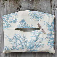 Blue French Toile Clothes Peg Bag