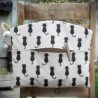 Black Cat Silhouette Print Clothes Peg Bag