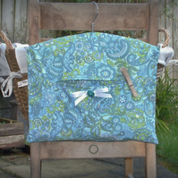 Retro Turquoise Cotton Clothes Peg Bag