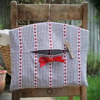 Grey, Red & White French Gingham Clothes Peg Bag