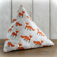 Fox Print Linen Look Triangular Pyramid Doorstop