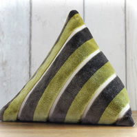 Olive Green and Brown Velvet Stripe Triangular Pyramid Door Stop