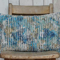 Original Slash Quilted Teal, Cream & Gold Rectangular Cushion