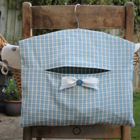 Blue and Cream Gingham Cotton Clothes Peg Bag