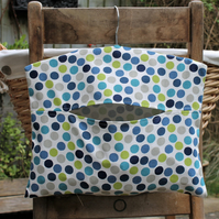 Blue and Green Polka Dot Print Cotton Clothes Peg Bag