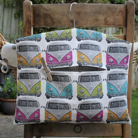 Multicoloured Camper Van Hanging Peg Bag