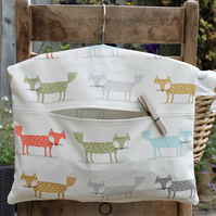 Multicoloured Scandi Fox Print Peg Bag