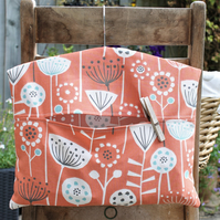 Orange, Grey and Blue Scandi Floral Print Peg Bag