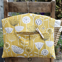 Yellow, Grey and White Scandi Floral Print Peg Bag