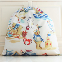 Seaside Teddy Bears Toy Bag with Drawstring