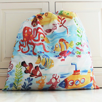 Under the Sea Theme Toy Bag with Drawstring