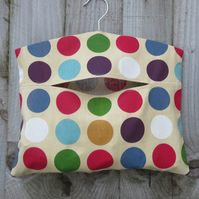 Multicoloured Spotted Cotton Clothes Peg Bag