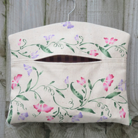 Sweet Pea Print Lined Clothes Peg Bag