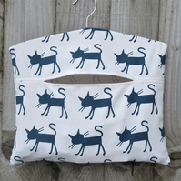 Navy Cat Silhouette Clothes Peg Bag