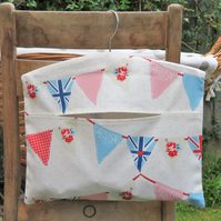 Blue & Pink Bunting Flags Print Clothes Peg Bag