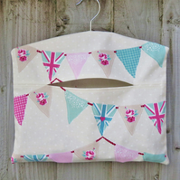 Mint Green & Pink Bunting Flags Print Clothes Peg Bag