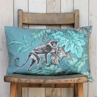 Teal & Silver Grey Monkey Print Cushion