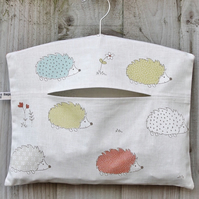 Multicoloured Hedgehog Print Peg Bag