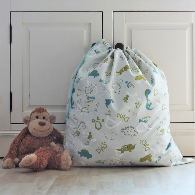 Dinosaur Print Cotton Toy Bag with Drawstring
